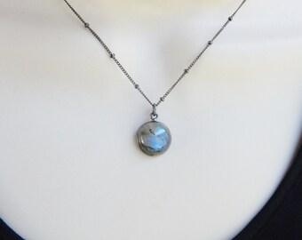 Oxidized Sterling silver framed  labradorite round necklace,  blue flashy labradorite necklace, night sky