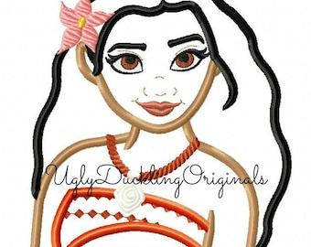 Moana Applique Design Princess Machine Embroidery Original Artwork by UDOAppliques™ Digital Download