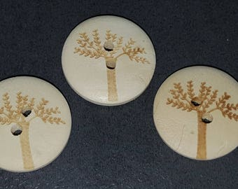 10 buttons 2cm printed wooden tree, tree of life buttons, wooden button, button decoration