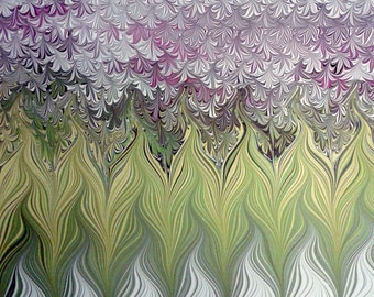 "Lily of the Valley - Original Marbling Art, Hand Marbled Paper, The Original ""Marbled Graphics""™ by Robert Wu"