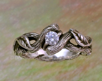 Silver OPEN TWIST with White Sapphire, Leaves with Spiraling Vine and Branch, Twisted Twigs. Leaf and Vine Band, Leaves Engagement Ring