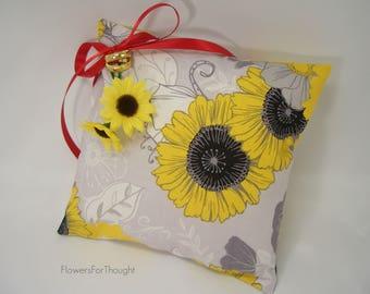 Sunflower Ring Pillow, Yellow Wedding Flower Ringbearer Cushion