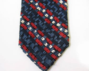 80s Thin Neck Tie Vintage Red White Blue Ribbon Weave