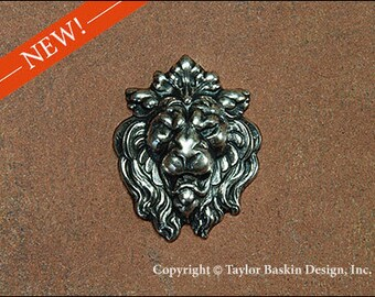 Antiqued Sterling Silver Plated Lion Head Component (item 7925 AS) - 1 Piece
