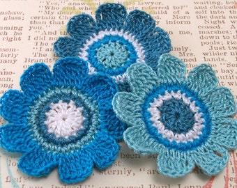 Blue Crochet Flower Appliques