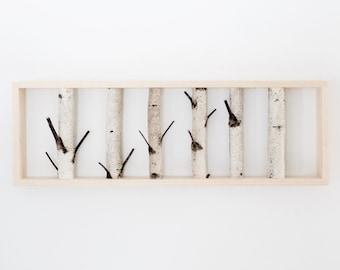 white birch forest wall art - 36 x 12, birch branch decor, birch log, wall hanging, modern rustic wall decor, framed birch art