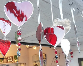 Pretty Stained Glass Handmade Heart Suncatchers in Various Colours