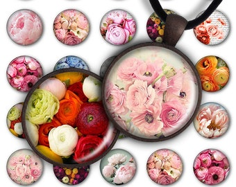 75% OFF SALE Digital Collage Sheet Peonies Circle 1inch Round 25mm Circle Flowers Pendant Printable PC068 Instant Download Jewelry Making