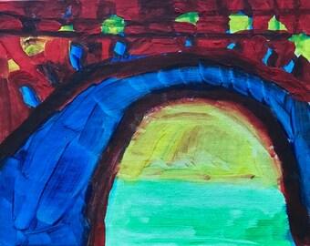 Fire Bridge 11 x 14 Canvas Panel Painting