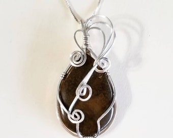 Bronzite and Sterling Silver Pendant