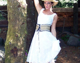 Cowgirl Country Chic-Corset Satin and Burlap Belt-CRBoggs Original