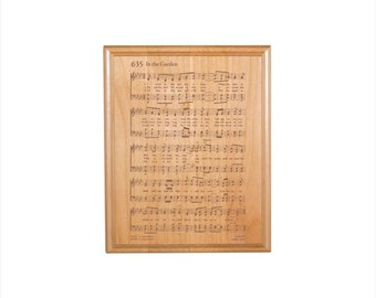 In the Garden Engraved Hymn Plaque - Engraved Solid Alder Wood - Christian Gift - Religious Wall Decor, Housewarming Gift
