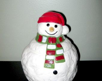 Vintage Festive Holidays Christmas Snowman Cookie Jar