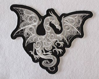 Winged Dragon Embroidery, Iron On Patch, Dragon Patch, Dragon Applique, Mythical Dragons, Goth Dragon, Flying Dragon, Embroidered Dragon