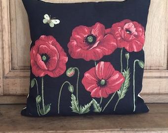 Red Poppy Decor - Poppy Pillow Cover - Black Throw Pillow - 18x18 Belgian Tapestry Cushion Cover - Flower Throw Pillow - PC-4865/BL