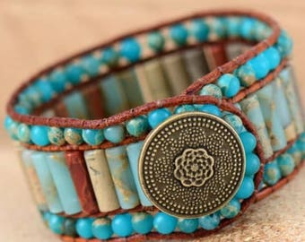 Leather Bracelet Natural Stone Bracelet Handmade Bracelet Statement Bracelet Statement Jewelry Fashion Bracelet Gifts for Her