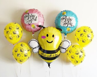 What will it Bee mylar latex balloon kit bumblebee  - baby shower gender reveal birth announcement - blue pink silver
