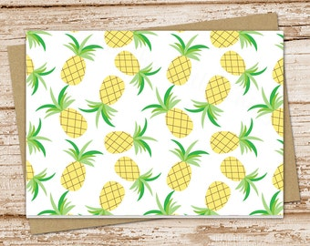 pineapple note cards, pineapples notecards . tropical fruit blank cards . folded stationery stationary, set of 6