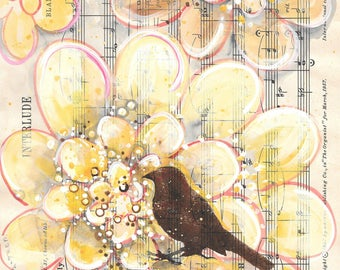 Interlude... recycled book art original painting on Antique 1950s sheet music, zinnias and bird silhouette