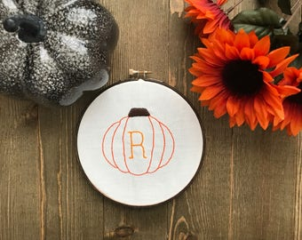 Personalized Monogram Pumpkin Hand Embroidery