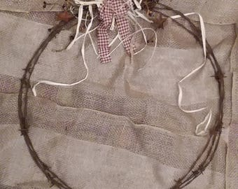 18'' barbed wire country wreath