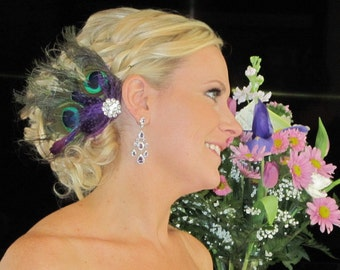 Peacock Hair Clip, Peacock Bridal Comb, Peacock Fascinator, Wedding Hair Clip, Wedding Accessories, Teal, Turquoise, Purple, Green, Bride
