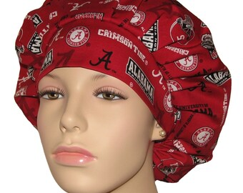 Bouffant Scrub Hat-University Of Alabama Crimson Tide New Fabric-ScrubHeads-Scrub Hats For Women-Scrub Cap-Crimson Tide Scrub Hat-Bama