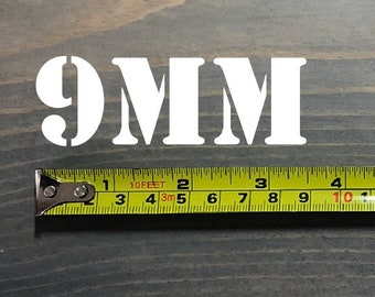 9MM Sticker Decal Ammo Can Box Label .308 Winchester Ammunition Case Die Cut Rifle Gun Caliber Bullets Handgun White Black