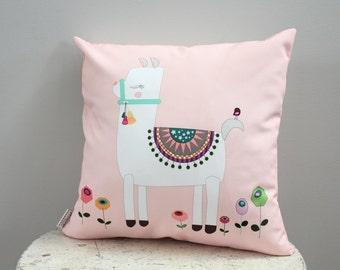Pillow cover alpaca llama 18 inch 18x18 modern hipster accessory home decor nursery baby gift present zipper closure canvas ready to ship