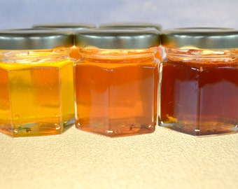 A Pure Raw Honey Samplers of different Varietal Honey 3 (6 oz.) jars, You choose your sampler Varietal Honeys, Orange, Sourwood, Eucalyptus
