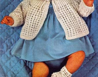FREE Baby Knitting Pattern, Newborn Sweater Knitting Pattern with Hat & Booties, 3 ply Knitting Pattern, PDF INSTANT Download Pattern (2301)