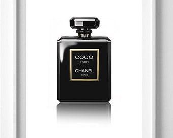 Poster poster chanel number 5 black, feminine decor for home fragrance.