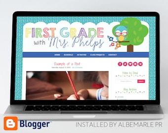 Premade Blogger Template Teacher Blog Owl and Flowers// Responsive // Classroom Blog - Mrs. Phelps