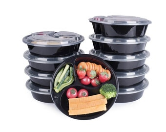 10 Piece Meal Prep Round 3 Compartment Food Storage Containers Durable BPA Plastic Reusable Portion Control  21 Day Fix Weight Loss Fitness