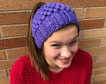 Purple Crocheted Ponytail Hat