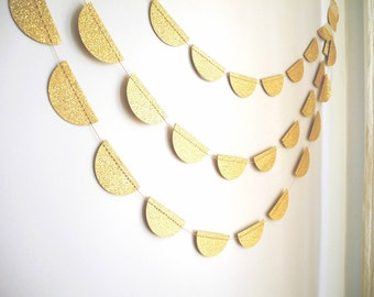 Gold Glitter party garland, Gold Glitter Scalloped Garland, Glitter wedding decoration