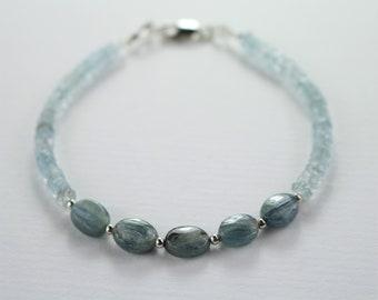 Aquamarine bracelet, kyanite bracelet, gemstone beaded bracelet, boho chic multi gemstone bracelet,womens beaded bracelet, gift for her