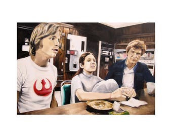 Rebel Breakroom - Princess Leia / Carrie Fisher, Han Solo / Harrison Ford, Luke Skywalker/ Mark Hamill Star Wars Art Print (Unframed)