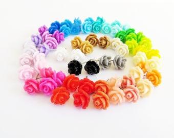 Titanium Rose Stud Earrings Nickel Free Rose Earrings 10mm Rose in 33 Color Choices Nickel and Lead Free