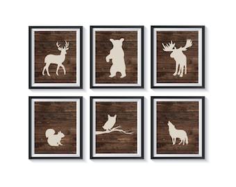 Rustic Woodland Forest Animals Art Print Set - Qty 6 - Wall Art Decor - Moose, Owl, Bear, Deer Nursery, Office, Playroom, Bedroom