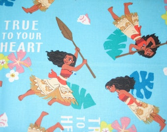 Disney MOANA, True to your heart on blue, cotton fabric, LAST 39 Inches
