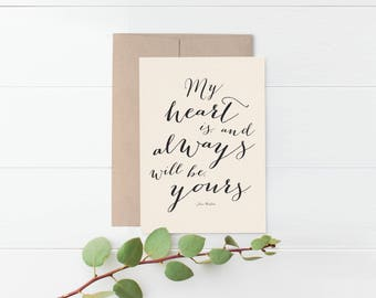 Jane Austen Romantic Greeting Card