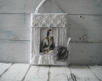 altered canvas french art country chic art cottage decor door hanger wall decor lace collage altered art shabby canvas art vintage girl lace
