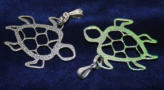 Stainless Steel Sea Turtle Powder Coated cutout Necklace Charm