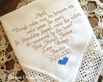 Best Friend, Wedding Gift, Embroidered Wedding Hankerchief, Best Friend Wedding, HAPPY WEDDING DAY, Best friend Gift,  By Canyon Embroidery