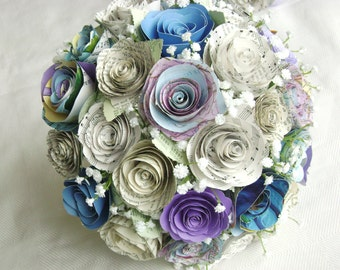 A's bouquet spiral map atlas cabbage roses with blue  purple vintage book hymnal sheet music paper flowers babys breath bridal alternative