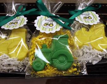 Set of 10 Tractor Soap Party Favors with Customized Tags for Boy Girl Tractor Party Birthday Baby Shower