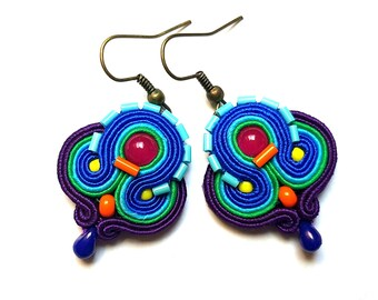 Renata - Soutache Earrings, colorful earrings, boho and folk, bright, optimistic jewelry