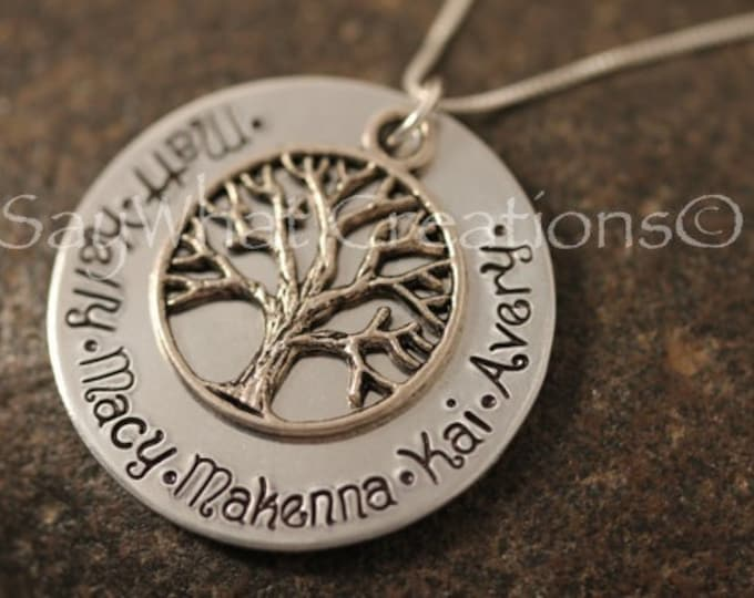 Custom Hand Stamped Family Tree of Life Necklace Great for Mothers or Grandmothers ALUMINUM