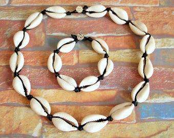 Collar Necklace bracelet Cowrie boho chic surfer girl surfer shells Cowry shell surfer set
